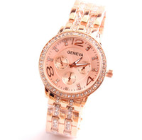 rose gold - Geneva Luxury Brand Watches Fashion Men Women wedding gift Rose Gold Bling Crystal Three eyed Stainless Steel Band Quartz Watch For Ladies