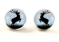 american wildlife - Winter gifts wildlife Earrings winter posts deer in the moon Stud Earrings