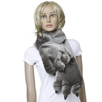 Wholesale 5 Fashion Animal Soft Warm Fluffy Plush Cartoon Bear s Paw Scarf Glove Grey for Ladies