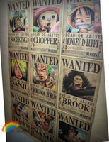 animal wanted - 9 pieces set One Piece Wanted Luffy classic cartoon poster kraft paper poster retro nostalgic paintings cm