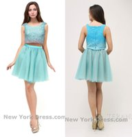 Wholesale Light Sky Blue Homecoming Dresses Two Pieces Formal Party Gowns Beads Jewel Neck Cap Sleeves Tulle Charming Cocktail Dresses Gowns