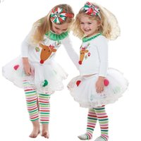 Wholesale Cute Style Babys Girls - Free Shipping 2015 New Retail Cute Deer Babys Christmas Clothes Long-Sleeve Girls Clothing Sets Kids Good Quality Suits outfit JIA763