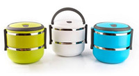 Metal ECO Friendly  Homio Double Layer Stainless Steel Children Lunch Box 1.4L Keep Warm Food Container For Kids