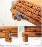 Wholesale 100pcs Vintage DIY Multi Purpose Regular Script Number Lowercase Alphabet Letter Decoration Wood Rubber Stamps Set Wooden Box