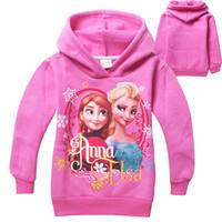 Wholesale 2015 Girls clothing hooded Coats Outwear Sweatshirt long sleeve Elsa Anna cotton fleece kid clothes children wear Fall Winter