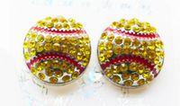 Cheap Dime Size Rhinestone Crystal Metal Softball Earring Studs Fashion Jewelry Sports Fans Club Best Friendship Gift