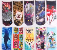 bestselling series - Fashion D Printed Unisex Cute Low Cut Ankle Socks Multiple Colors Harajuku Style Cartoon Animal series socks bestselling