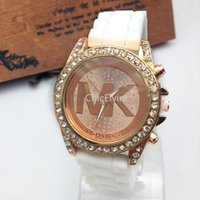crystal watches - Mens silicone Watches Fashion Diamond watch luxury watches For women Crystal Watches Gold watches Quartz dress wristwatch Free