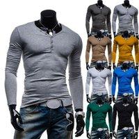 Wholesale retail slim decorative button handsome fashion solid color long sleeve M L XL XXL colors V neck man s Casual T shirt