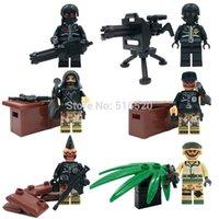 barrier plastic - LELE Military Serie Camouflage Barrier Gun Battle Minifigure Building Block Sets Bricks Toys Decool Compatible