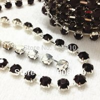 Wholesale ss28 ss38 Real Jet BLACK Color Yards Round Crystal Rhinestone Cup Chain Silver Base For Jewelry Dress clothing Decoration
