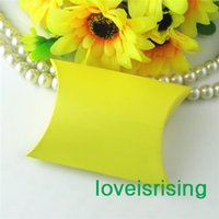 Wholesale New Arrivals Pieces x7 x2 cm Yellow Color Pillow Favor Box Gift Box For Baby Shower Wedding Favors Boxes Supplies