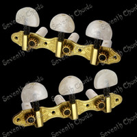 Wholesale A set of Gold Classical Guitar Tuning Pegs Keys Tuners Machine Heads White Pearl Big Semicircle Handle