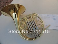 Wholesale French Horn Double Row Split Key Single FB Key Bb flat Wind Instruments French Horn with Nylon Case Surface Gold Plated
