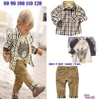 Cheap DHL free shipping 100% cotton , new spring baby clothes set cool boy 3 pcs suits t-shirt+shirt+pants children garment Wholesale