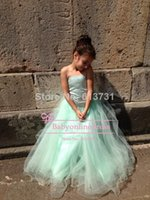 Wholesale 2014 Cute Strapless Green Tulle Flower Girl Dresses With Big Bow Back Girls Pageant Party Dresses