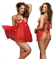 Wholesale New Women s Sexy red mesh Lingerie Babydoll Pantyhose Pleasure Hosiery Bodycon Fishnet Body Stocking Game Uniforms Underwear Sexy Set