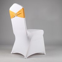 Wholesale 50 SPANDEX BAND WITH ROUND BUCKLE FOR WEDDING AND PARTY BRAND CHAIR COVER DECORATION