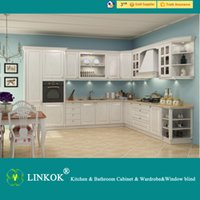 Wholesale Linkok Furniture Long lifetime Wooden color PVC membrane kitchen cabinet low price and high quality standard furniture for kitchen