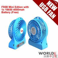 Wholesale 2015 New F95B Portable Mini USB Fan Rechargeable Battery Fan Operated LED Lamp for Indoor Outdoor Kids Table Mini Fan with Battery