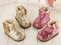 diamante shoes - New Winter Cute Rabbit Diamante Bowknot Sequins Baby Girls Snow Boots Korean Princess Children Toddler Prewalker Shoes Gold Purple L1561