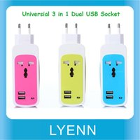 Wholesale 3 in1 EU US Travel Charger Adaptor Dual USB Port Universal Socket For Phone PC Tablet
