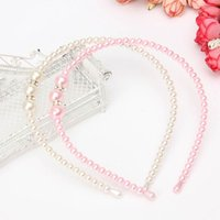 Wholesale 1Pcs Korean Style Princess Pearl Rhinestone Hair Bands Girl Lovely Headbands Kids Children Hair Accessories