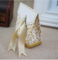Wholesale golden Wedding Favor Boxes Wedding Candy Box Casamento Wedding Favors And Gifts Event Party Supplies TY674