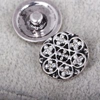 Wholesale 18mm Chunks Button Noosa crystal snap buttons black slap DIY jewelry Findings for noosa bracelets necklaces