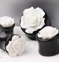 al por mayor 18mm tapones para los oídos-Mezcla 8-18mm Double Flared Ear Plugs PiercingFlesh Túnel Acrílico redondo resina rosas flor pendiente medidores