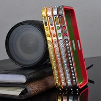 For Apple iPhone bling iphone case - For iphone S Luxury Diamond Bling Crystal Rhinestone Bumper Aluminium Metal Hard TPU Frame Case Cover For iphone5