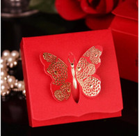 Wholesale 100 European style Hot stamping butterfly Wedding box Candy Box gift box wedding bonbonniere wedding favour boxes TH77