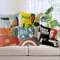 Wholesale 2015 Avengers color Cushion Cover Pillow Case Waist Pillow Cotton linen pillow couch sofa car Back neck nap cushion cover TOPB3056