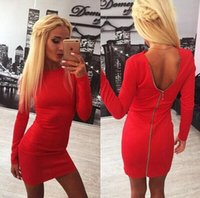 Wholesale 2016 winter Hot dress United States women s cultivate one s morality dress Long sleeve backless