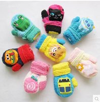Wholesale Children coral cashmere gloves Korean version of the fall and winter cartoon warm gloves male and female baby will