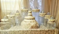 cake plates - Sparkling Crystal clear garland chandelier wedding cake stand birthday party supplies decorations for table top centerpieces