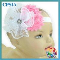 Precio de Bandas para la cabeza de encaje blanco para bebés-(04) venda elástico 120pcs / lot 2015 de la venda del bebé del patrón encantador del cordón blanco y rosado de la flor rosada para la venta