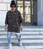 Cheap 2016 Hip Hop Fashion Kanye West Yeezy T shirt Men camo camouflage urban yeezy season 1 yeezus half sleeve Tshirt for Man Clothing