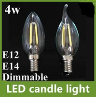 Wholesale 4w Cob filament Led Candle Light Bulb Lamp v v lm e12 e14 Dimmable Led Bulb crystal lamp chandelier warm white bright lamp