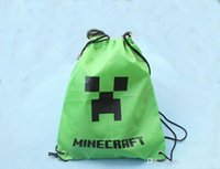Wholesale Minecraft Creeper backpack Minecraft bag Creeper JJ Draw String Bag Gift bag Sling Bag green black Waterproof Backpacks storage bag cm