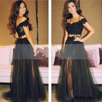 Wholesale robe de soiree Fashionable Two Piece Long Prom Dresses Sweetheart Off Shoulder Black Tulle Evening Gowns Sexy Party Dress