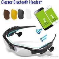 venda por atacado mp3, óculos de sol-Sem fio Óculos de Sol Bluetooth Headset Headphone Handfree + Esporte Óculos / MP3 com microfone para iphone ipad Samsung HTC Sony PSP 1pcs gratuitos