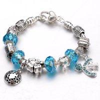strands of glass beads - Fashion European Bracelets sterling silver core Crystal arrow of Cupid pendant glass beads bracelet