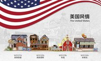 Wholesale 3D Puzzles World Style Series Architecture DHL EMS United States Classical Architecture Paper Model Puzzles Best Gift For Kids