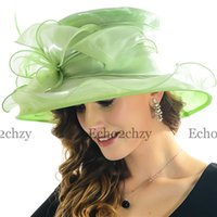 dress hats - Lowest Price Womens Summer Hats For Sale Beautiful Flower Wide Brim Hats For Summer Popular Organza Dress Hats SS035