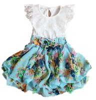 Cheap GIrls Summer Dresses Korean Floral Chiffon Children Princess Dress Sweet Lace Cute Kids Cool Dresses Child Clothing