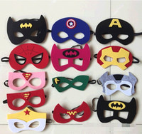 Wholesale costume Party masks halloween cosplay masks kids superman captain america batman felt mask for cartoons styles by DHL or Fedex