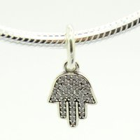 Wholesale 925 Sterling Silver Beads Fit Pandora Bracelet Charms Dangle Hamsa Hand With Clear CZ