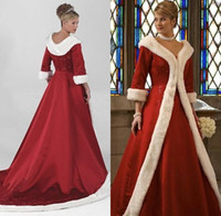 Wholesale 2016 Long Sleeves Cloak Winter Ball Gown Wedding Dresses Red Warm Formal Dresses For Women Fur Appliques Christmas Gown Jacket Bridal BO9805