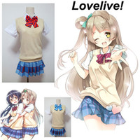 anime sweaters - Love Live Yazawa Niko LoveLive Summer Style Cosplay Costume Sweater Vest Girl School Uniform Outfit Women Sets Shirt Skirt Bow Tie